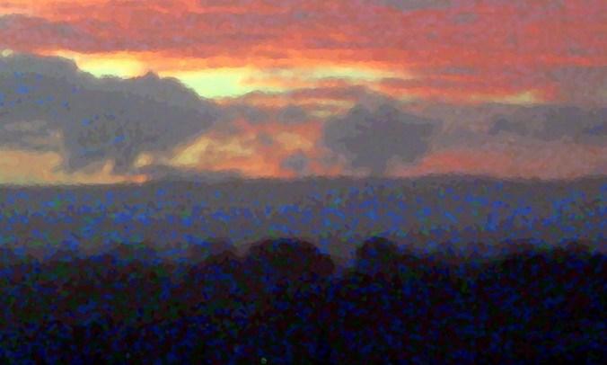 Monet sunset over Gold Coast